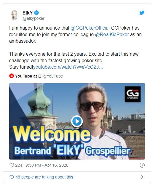 【蜗牛扑克】丹牛与前同事再聚首,ElkY签约GGPOKER
